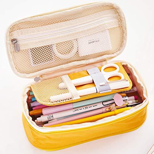 iSuperb Estuche Escolar Pequeña Bolsa para Lapices Estudiante Plumier Colegio Color Sólido 19,8 X 8 X 5cm (Amarillo)