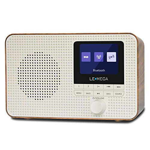 LEMEGA DR3 DAB DAB+ and FM Portable Digital Radio,Wireless Bluetooth,Headphones-Out,40 Preset Stations,Dual Alarms Clock,Snooze Timer,Batteries Portable or Mains Powered,Colour Display - Walnut