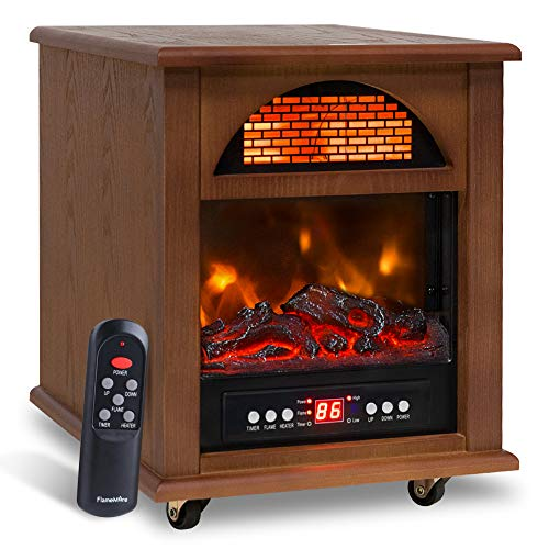 Electric Portable Quartz Infrared Space Cabinet Heater for Indoor Use with Realistic Flame Effect, Remote Control & 12 H Timer, Overheat & Tip-over Shut Off Thermostatfor Room Office Wood
