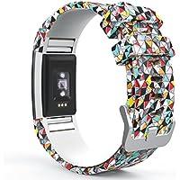 MoKo Fitbit Charge 2 Accesorios - [Rombo Serie] Correa Reemplazo de Silicona Suave Deportiva para Fitbit Charge 2 Pulsera de Actividad física y Ritmo cardiaco, Fits 145mm-210mm, Diamante Colorido