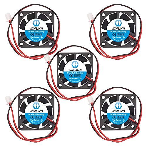 WINSINN Ventilador de 40 mm, 5 V, doble rodamiento de bolas, sin escobillas 4010, 40 x 10 mm, alta velocidad (paquete de 5 unidades)