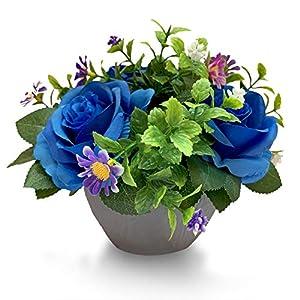 Mixrose Small Fake Plants Artificial Silk Rose Flower Bushel Bouquet in Textured Imitation Wood Pot for Home, Office, Kitchen, Bathroom, Countertop Décor