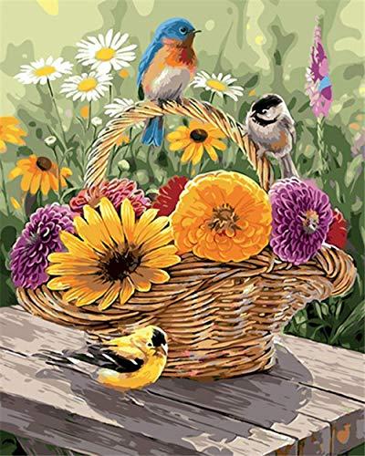 Gbrand Dipingere con i Numeri Adulti, Fiori e Uccelli nel Cesto Kit per dipingere con i Numeri con pennelli e pigmento Acrilico Regalo Compleanno Decorazione della casa - 40 * 50 cm (Senza Telaio)