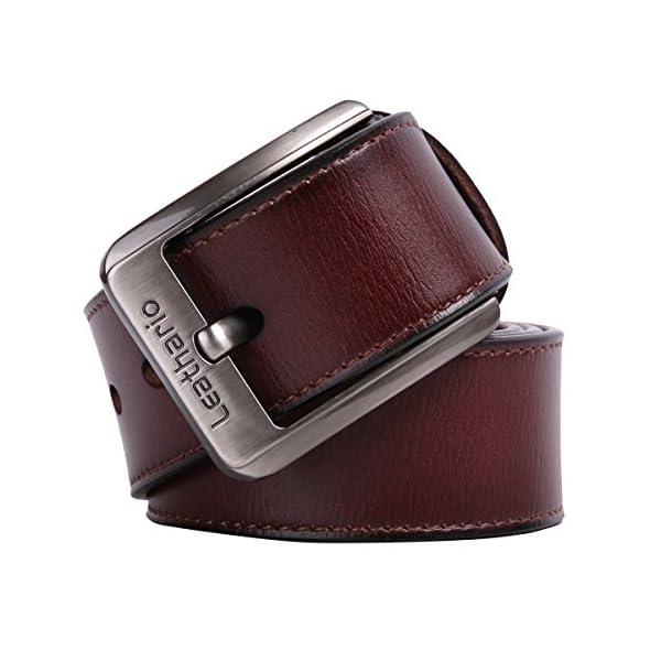 51RzJXPbvHL. SS600  - Leathario cinturones de hombre de piel sintetica cinturones de moda de cuero con buenos acabados para caballeros hebilla elegante