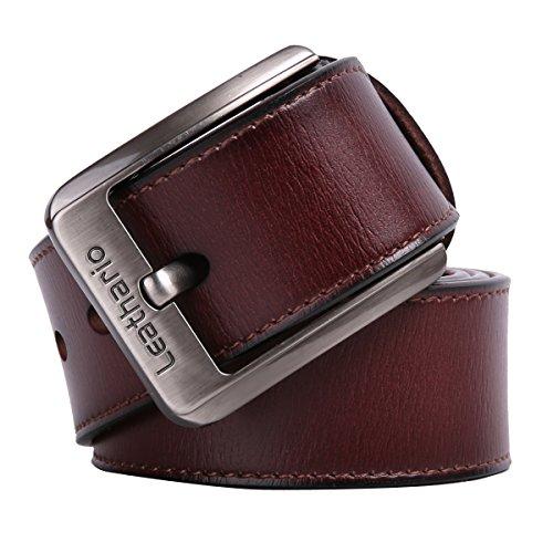 51RzJXPbvHL - Leathario cinturones de hombre de piel sintetica cinturones de moda de cuero con buenos acabados para caballeros hebilla elegante