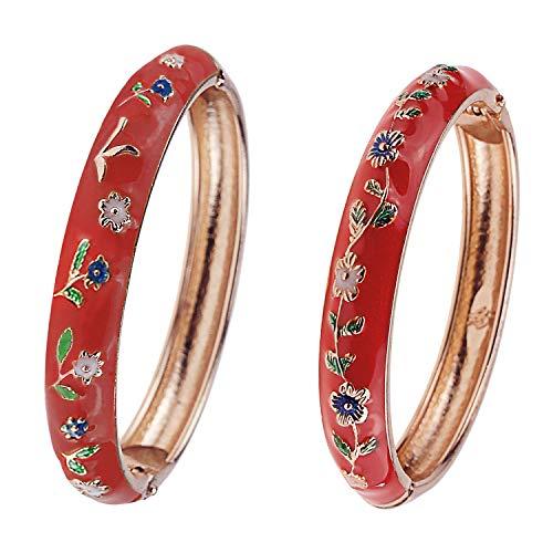 UJOY Girls Baby Bracelets Set 1.96'' Indian Jewelry Flower Enamel Bangle Gift Box 55D24-D25 Red