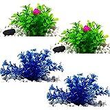 FHYT 4Pcs decoración de acuarios Paisaje de Acuario Plantas de Agua de simulación de decoración de pecera