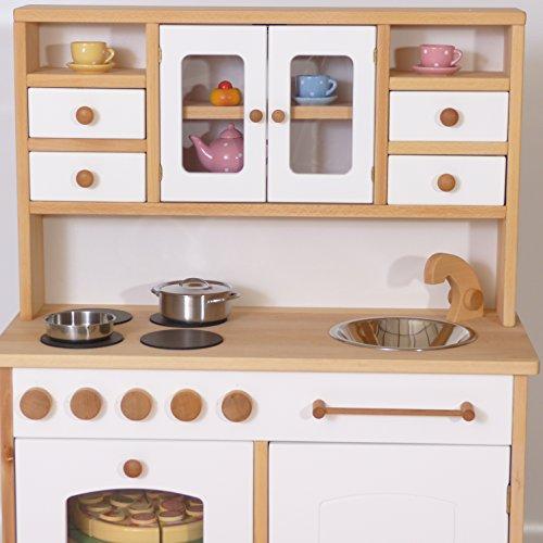 Kinder-Holz-Spielküche 2033 - Weiß - Kinderküche - Herd Spüle Backofen Schrank - 2