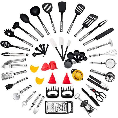 Kitchen Utensil Set - 50-Piece Cooking Utensils - Nylon and Stainless Steel Utensil set - Nonstick...