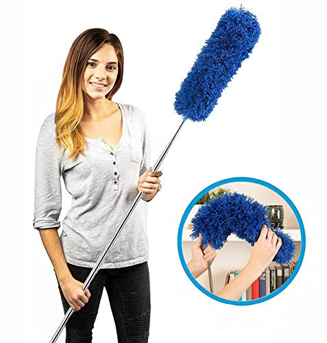 HEOATH Microfiber Extendable Duster, Extra Long 100 inches, Non-Scratch, Bendable, Washable, Hypoallergenic Feather Dusters for Cleaning Roof, Ceiling Fan, Blinds, Cobwebs, Baseboards - Blue