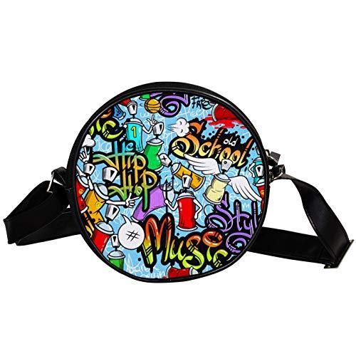 Borsa a tracolla rotonda piccola da donna, alla moda, borsa a tracolla in tela, accessorio per donna, decorazione graffiti spray street art
