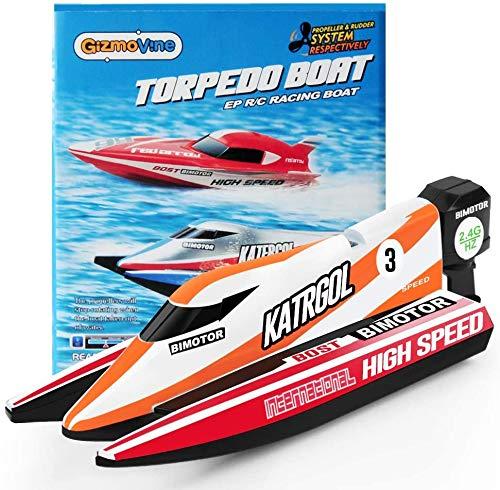 GizmoVine Ferngesteuertes Boot, RC Spielzeug Boot Kinder, 2,4-GHz Fernbedienungs Boot für Pools und Seen...