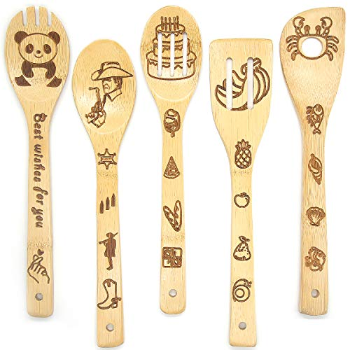 5Pcs Cooking Bamboo Spoon,Mother's Day Birthday Wedding Gift Idea Funny Kitchen Decor Creative House Warming Halloween Christmas Gifts