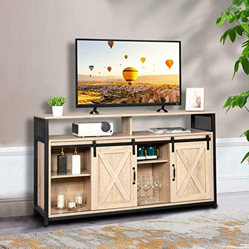 """Bed Table, Rustic 51"""" TV Stand Entertainment Center Console Storage Barn Door Wood Cabinet"""