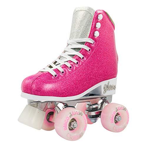Crazy Skates Glam Rollschuhe für Damen und Mädchen – schillernde Glitzer-Sparkle Quad Skates – Pink mit Silber (Größe 2)