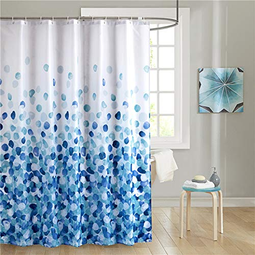 Uphome Fabric Stall Shower Curtain Blue Ombre Pebble Cobble Stone Shower Curtain Set with Hooks Chic and Elegant Bathroom Bathtub Accessories Decor, Heavy Duty and Waterproof, 54x78