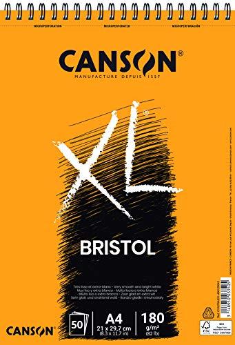 Canson Bristol Extraliso Spiralalbum 21 x 29,7 50 H XL 180 g, Weiß, A4