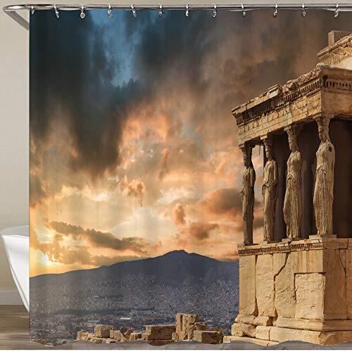 KGSPK Cortinas de Ducha,Atenas, Grecia,Impermeable Cortinas Baño y Lavables Cortinas Bañera 180x180CM