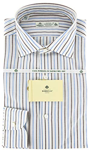 Luigi Borrelli Brown Stripes Button Down Spread Collar Cotton Blend Slim Fit Dress Shirt, Size Medium 15.5