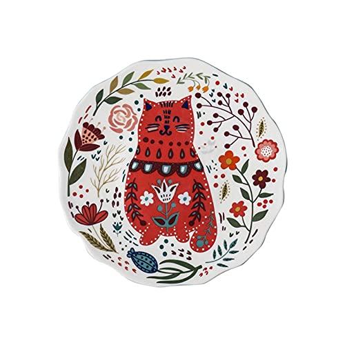 Plato de Cena Colorido del Gato de 8 Pulgadas Platos de Cena de cerámica bajo acristalamiento Postre Bandeja de postres Gatito Gatito Vajilla Microondas Caja Fuerte (Color: A) TINGG (Color : D)