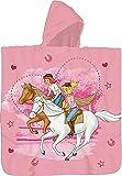 Bibi und Tina Kinder Kaputzen Bade-Poncho Rosa 60 x 120 cm 100% Baumwolle Veloursqualität Poncho Bademantel Badetuch Strandtuch Duschtuch Handtuch Blocksberg Amadeus Sabrina passend z. Bettwäsche