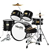 Mendini By Cecilio Drum Set For Kids/Junior - 16-Inch, 5-Piece, Black Metallic - Starter Drums Kit w/Adjustable Throne, Cymbal, Pedal & Drumsticks - MJDS-5-BK