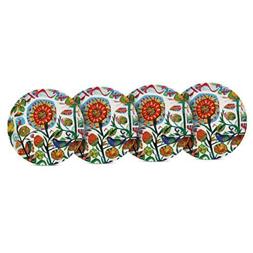 Home Collection Hogar Cocina Vajilla Accesorios de Viaje Fiesta Juego de 4 Platos de Bambú Ecológico Motivo Flores Frutas Estilizadas