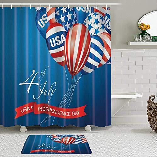 LISNIANY Conjunto De Ducha Cortina Alfombra,Día de la Independencia EE.UU. 4 de Julio Globo de Barras y Estrellas de la Bandera Americana,Uso en baño, Hotel