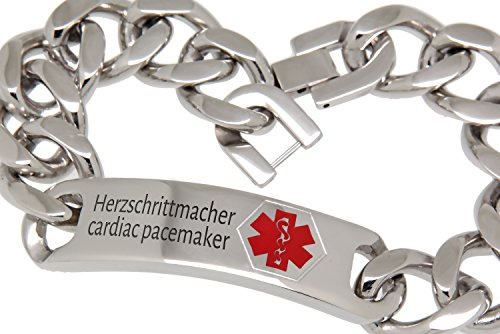 International Connection Notfall-Armband Medi-Armband mit Gravurplatte Edelstahl 23 cm Länge