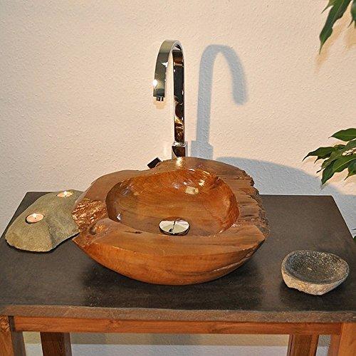 wohnfreuden Teakholz Waschbecken 45cm rund oval ✓ einzeln fotografierte Unikate aus der Bildergalerie wählbar ✓ Handwaschbecken Waschschale Holz-Aufsatzwaschbecken für Bad Gäste WC