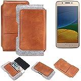 K-S-Trade Schutz Hülle Für Lenovo Moto G5 Dual-SIM Gürteltasche Holster Gürtel Tasche Schutzhülle Handy Smartphone Tasche Handyhülle PU + Filz, Braun (1x)
