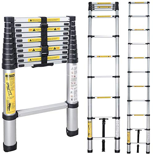 Telescoping Ladder 10.5 ft, Aluminum Extension Ladders,Multi-Purpose Ladder,Telescoping Ladder a Frame for Home Use Roof RV Outdoor Activities