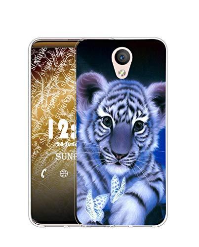 Sunrive Kompatibel mit alcatel U5 HD Hülle Silikon, Transparent Handyhülle Schutzhülle Etui Hülle (Q Tiger)+Gratis Universal Eingabestift MEHRWEG