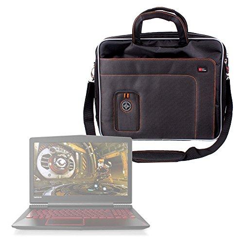 DURAGADGET Sacoche pour ASUS ZenBook UX510, ROG Strix GL553, Lenovo Legion Y520, et Acer Aspire VX 15 (VX5-591G) Ordinateurs Portables - Noir et Orange