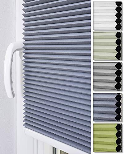 Home-Vision® Premium Doppelplissee Wabenplissee ohne Bohren mit Klemmträger / -fix (Weiß-Graphit, B90cm x H120cm) Zweifarbig Blickdicht Sonnenschutz Jalousie für Fenster & Tür