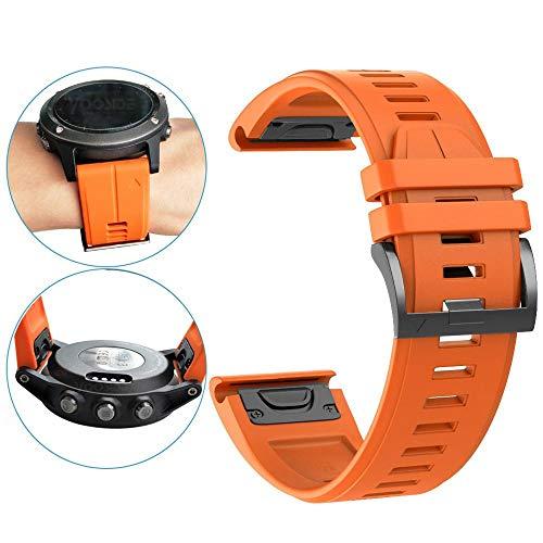 YOOSIDE for Garmin Fenix 3 Watch Strap 26mm Quick Fit Silicone Sport Waterproof Replacement Watch Band Strap for Garmin Fenix 5X5X Plus D2 CharlieFenix33 HRQuatix 3Tactix Bravo Orange
