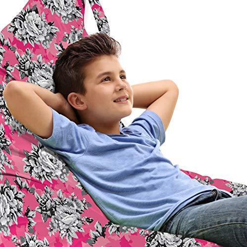 ABAKUHAUS Pfingstrose Unicorn Toy Bag Lounger Stuhl, Graustufen- Blumen Chintz Rose, Hochleistungskuscheltieraufbewahrung mit Griff, Pink Pastellrosa