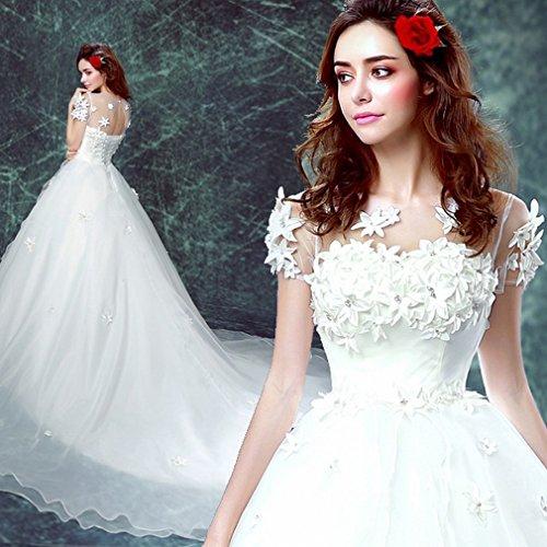 u&h HU Novia Vestido de Novia de la Palabra Hombro de Cola Larga Vestido de Novia de la Boda Princesa Vestido de Novia de Gran Tamaño,A,S