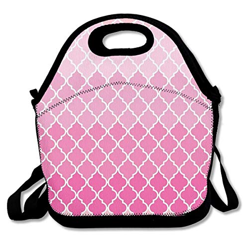 Ombre Moroccan Trellis Latticework - Pink White Customized Insulated Neoprene Lunch Bag Unisex Suitable for Office Workers
