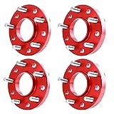 Pindex Separadores de Rueda: 10 mm/15 mm, 5 x 120 mm, 4 unidades de espaciadores de ruedas con tornillos Rojo