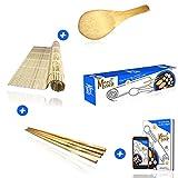Merci Myself Kit à sushis et makis -Sushi kit-Sushi maker,Natte en bambou naturel +2...