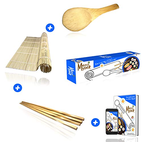 Merci Myself Kit à sushis et makis -Sushi kit-Sushi maker,Natte en bambou naturel +2 paires de baguettes+Cuillère en Bambou+ CADEAU:EBOOK de 100 pages et 23 recettes,Kit DIY japon et cuisine facile