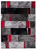 Jawa J382B - Alfombra moderna para salón y ambientes, clásica, moderna, antracit, negro, gris y rojo