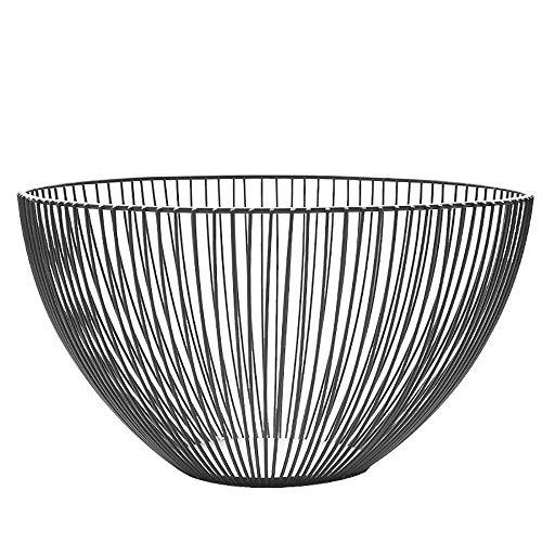 B-fengliu Obstschale Art und Weise höhlt Runde Schmiedeeisen Obstteller Brot Teller Teller Nahrungsmittelkorb Desktop Storage Basket Platte (Schwarz 25 * 14cm)