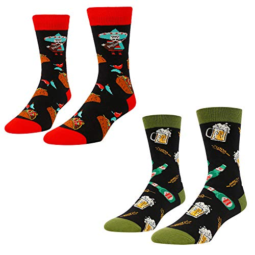 Unisex Funny Crazy Food Socks Taco Beer for Men Women, 2 Pack Gifts for Foodies