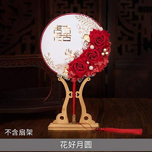 YGGY Chinesische Hochzeitsgruppe Fan Hochzeit Braut fertiges Produkt antike Lange Griff Quaste Kleiner runder Fan hält Blumen Hochzeit, ohne Fan