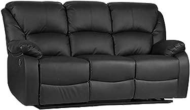 Romatlink Modern Classic Design Comfortable Pu Leather Sofa Living Room Extendable Footrest Furniture Leisure Chair Sofa Seat Curved Armrest Apartment Leisure Sofa Manual Sofa Black