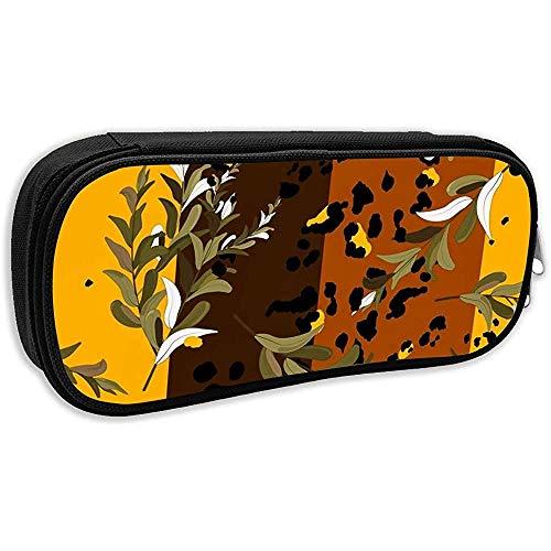 Pen Bag Pouch Afrika Design Leopard Tiger Haut Und Blätter Bleistiftetui Stationäres Etui Make-Up Kosmetiktasche