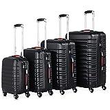 Monzana Juego de 4 Maletas rigidas Negro Equipaje de Viaje Set de valijas de 34L 55L 84L 120L Conjunto para finde