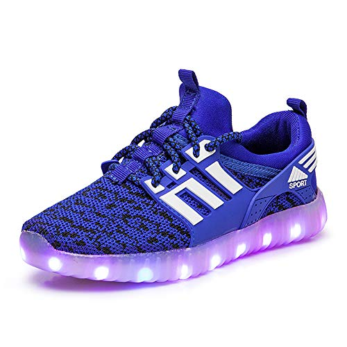 LED Zapatos Ligero Transpirable Bajo 7 Colores USB Carga Luminosas Flash Deporte de Zapatillas con Luces Los Sport Running Shoes Gymnastic Tennis Sneakers Best Gift for Boys and Girls